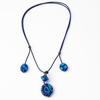 collier 4 perles bleu turquoise