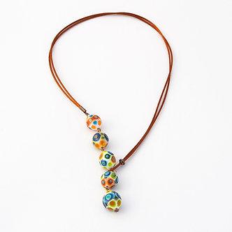 collier 5 perles multicolor