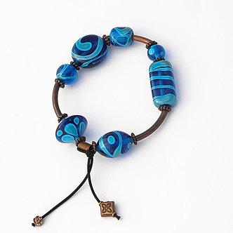 bracelet élastique bleu turquoise