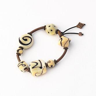 bracelet élastique ivoire et noir