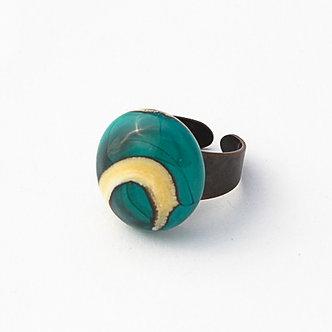 bague vert turquoise et ivoire