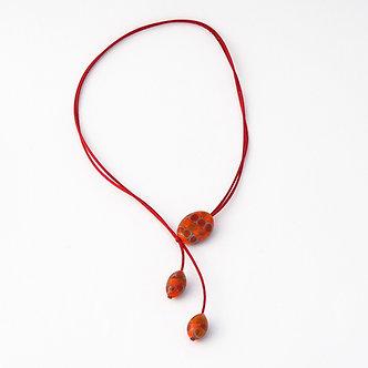 collier 3 perlesorange rouge violet