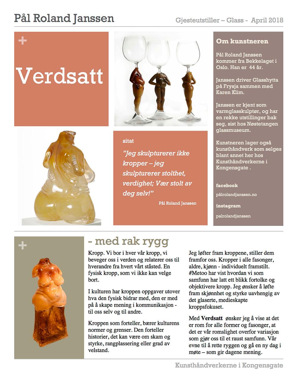 pressemelding glasskunstner pål roland janssen, utstilling hos Kunstnerne i kongensgate