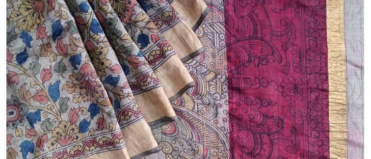 Kalamkari Multicolor Work Natural Dye Silk Saree