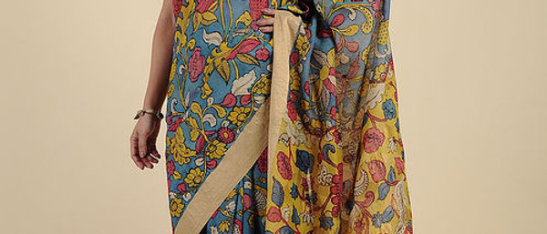 Blue-Yellow Hand Painted Kalamkari Tussar Silk Saree