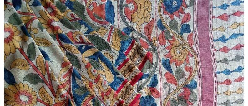 Vidarbha Kervati Natural Dye Kalamkari Silk Saree