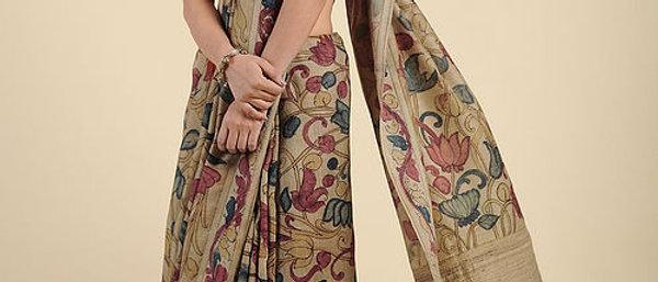 Beige Hand Painted Kalamkari Silk Saree