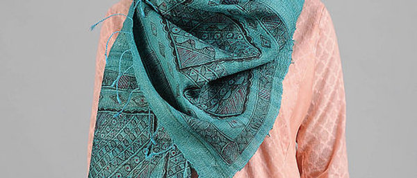 Blue Multi Color Madhubani Work Silk Stole