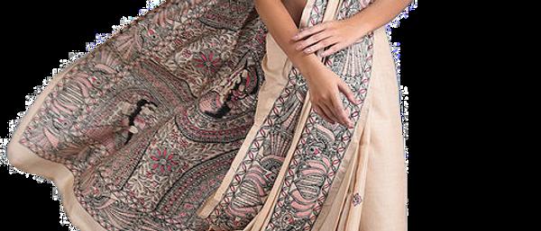 Beige Multi Color Madhubani Silk Saree