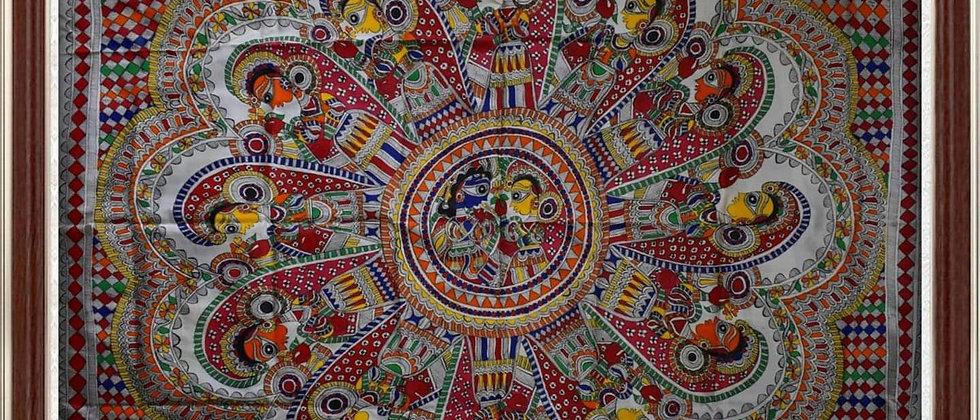 Madhubani Painting on silk for Wall decoration