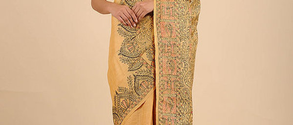 Yellow-Black Hand Painted Madhubani Tussar Silk Saree