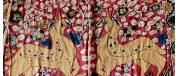 Kalamkari Bandhej Silk Saree