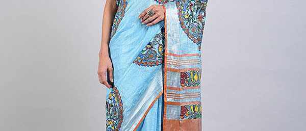 Blue Orange Multi Color Madhubani Linen Saree