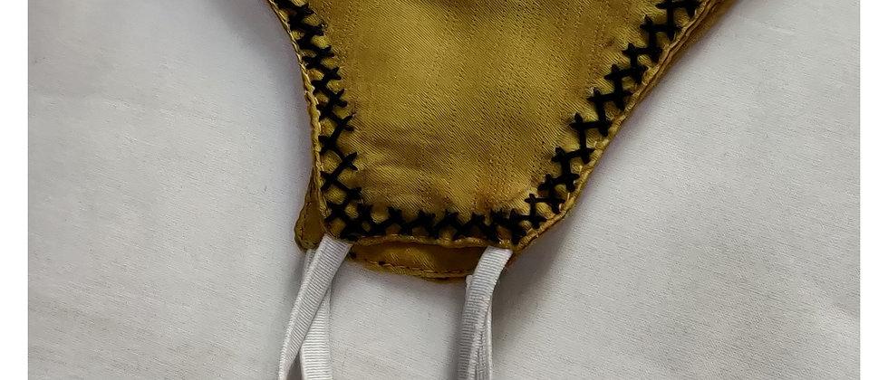 Yellow Modal silk Thread work Mask