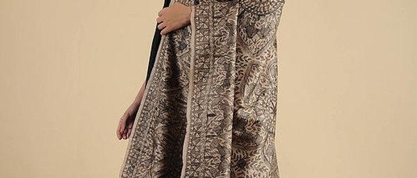 Beige-Black Madhubani Painted Silk Dupatta