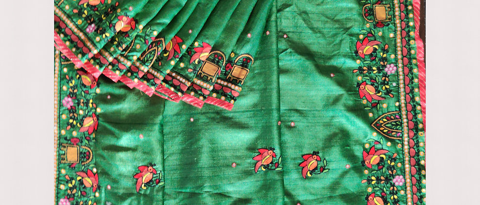 Aati Work silk Saree