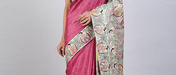Pink Multi Color Madhubani Silk Saree