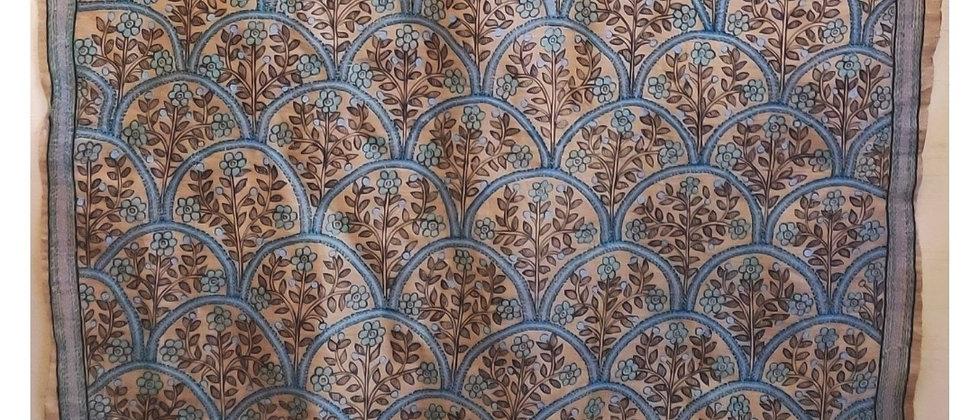 Beige Blue Madhubani and Kantha silk Dupatta