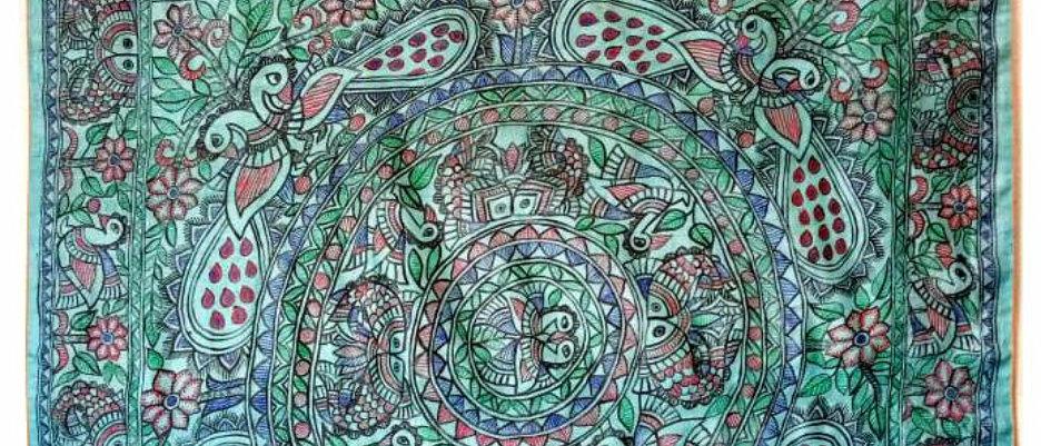 Blue Multicolor Full Work Madhubani Silk Saree