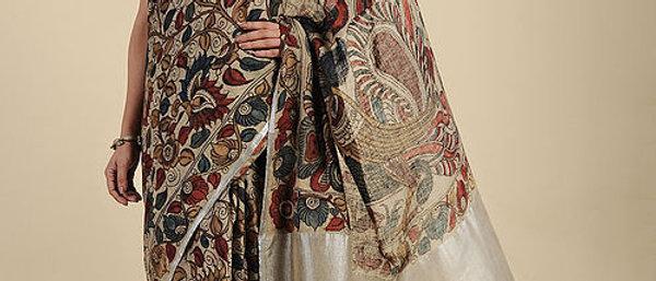 Beige Hand Painted Kalamkari Linen Saree