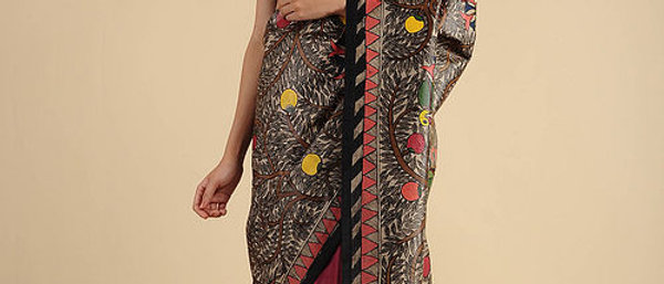 Black-Red Madhubani Painted Silk Saree