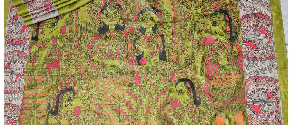 Beige Red Ram Darbar Madhubani silk saree