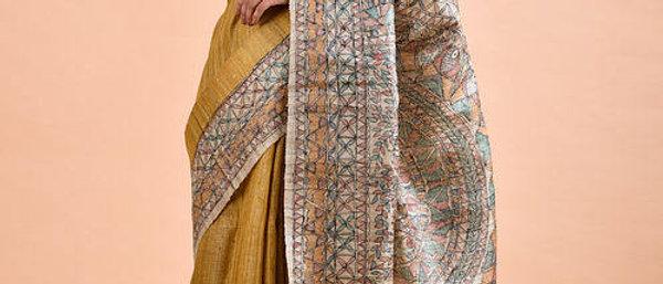 Mustard Madhubani-Painted Tussar Silk Saree