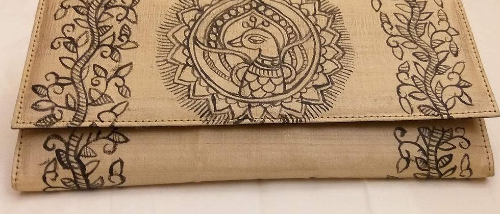 Beige Madhubani Silk Clutch