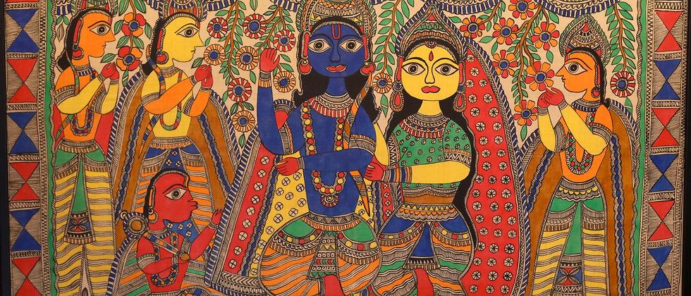 Ram-Darbar Multi Color Madhubani Painting