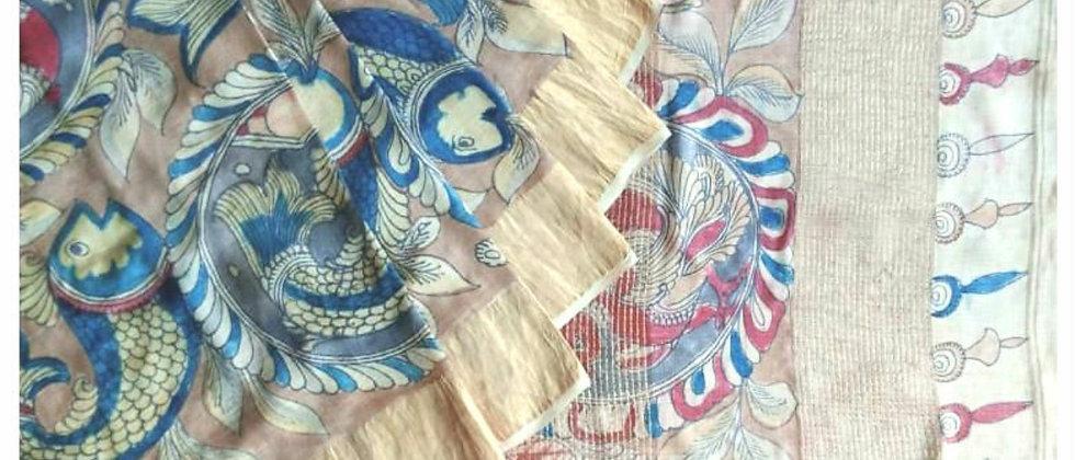 Brown Multicolor Work Kalamkari Natural Dye Silk Saree