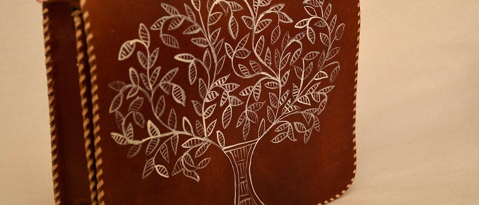 Red Natural Leather Madhubani Handbag