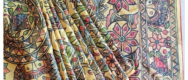 Yellow Multicolor Full Work Madhubani Silk Saree