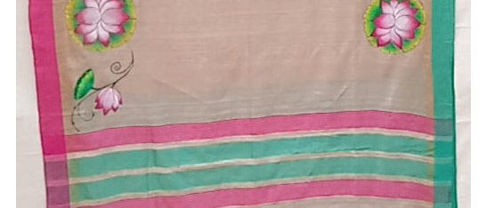 Beige Multicolor Pichawai painting tusser silk saree