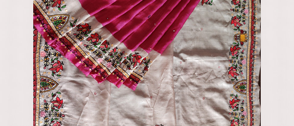 Aari Work Silk Saree