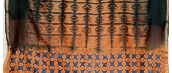 Orange Shibori and Patch Work Chanderi Silk Saree