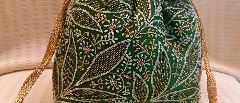 Green Chickenkari Tusser Silk Potli