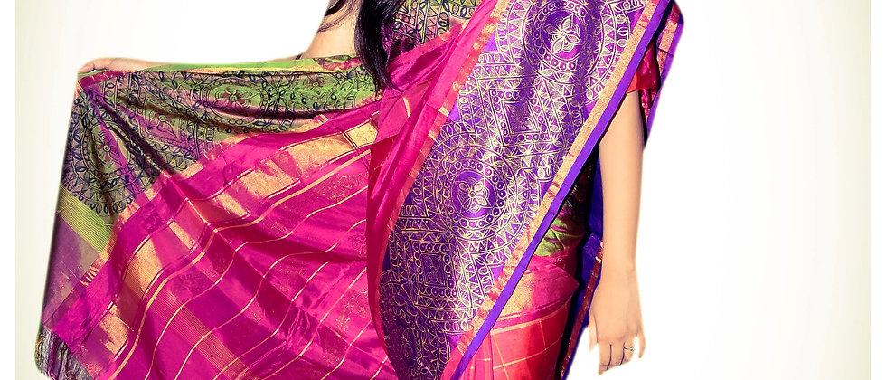 Madhubani Kanjivaram Silk Saree