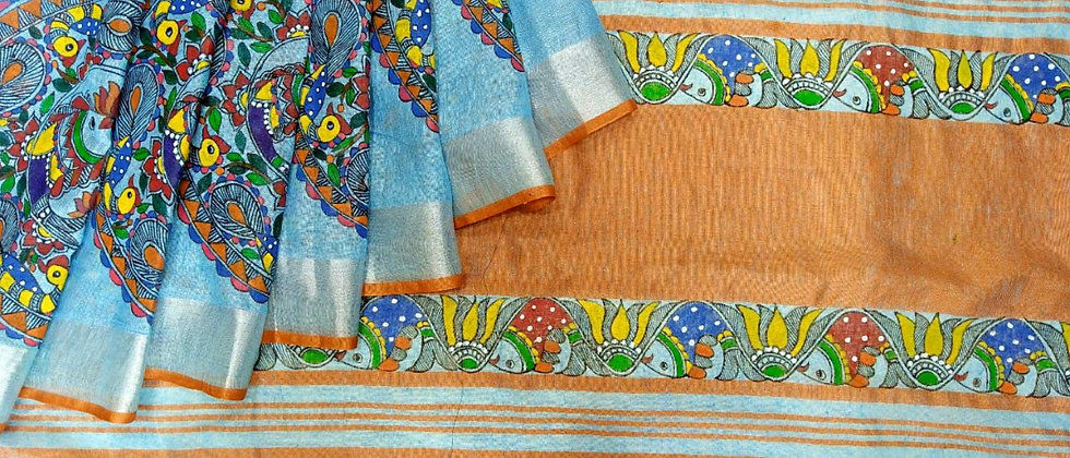 Blue linen Multicolor Madhubani Hand Painted Saree