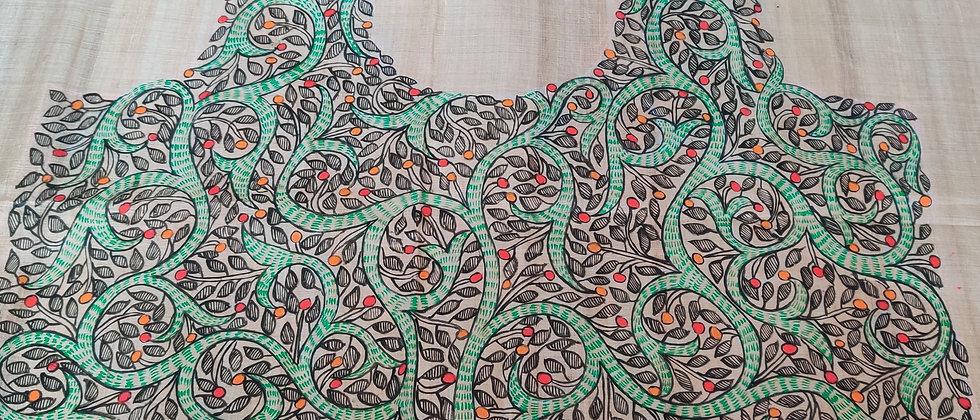 Beige Multi color Silk Madhubani Blouse Fabric