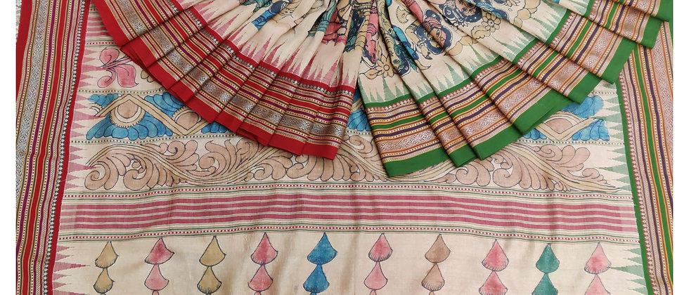 Red Green Vidrabha Karvati Kalamkari Natural Dye silk Silk