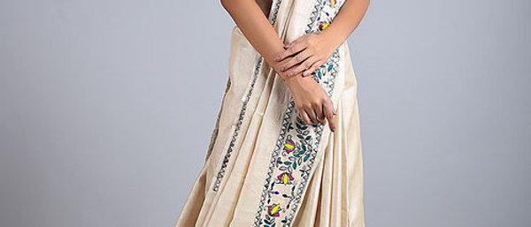 Beige Ram Darbar Multi Color Silk Saree