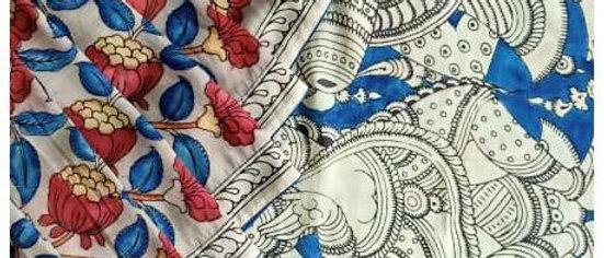 Grey Kalamkari Natural Dye Chinnur Silk Saree
