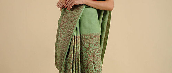 Green-Red Madhubani Painted Silk Saree