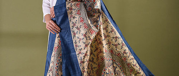 Blue Multicolor Work Madhubani Silk Dupatta