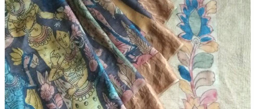 Black Village Story Kalamkari Natural Dye Silk Saree
