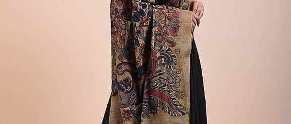 Beige-Blue Hand Painted Kalamkari Tussar Silk Dupatta