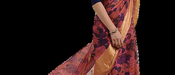 Pink-Blue Hand Painted Kalamkari Kota Silk Saree