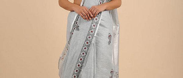 Grey Black Linen Madhubani Saree