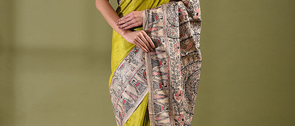Green Godna Multicolor Work Madhubani Silk Saree