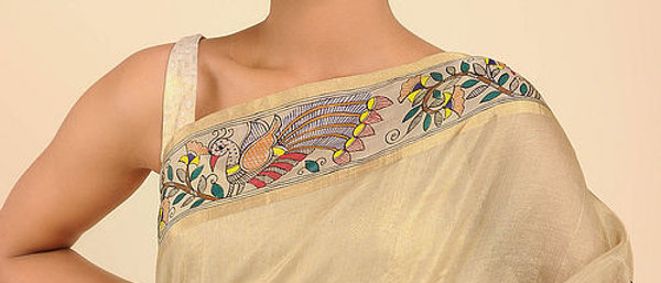 Golden Multi Color Chanderi silk Madhubani Saree